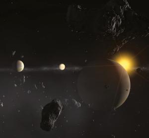 Impresión artística del sistema planetario en torno a HD 69830 | ESO